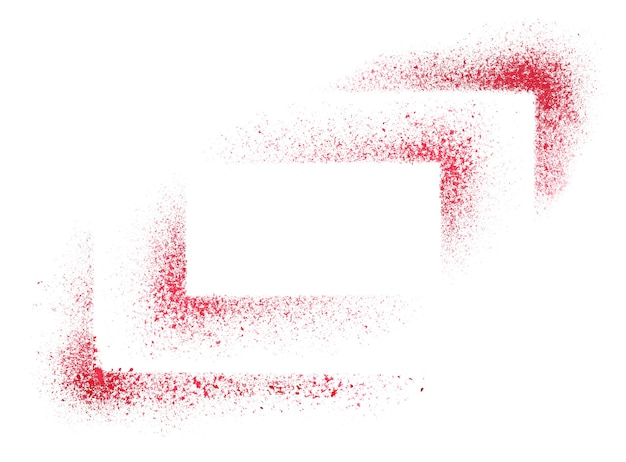 Red stencils corners isolated on the white background - abstract raster illustration