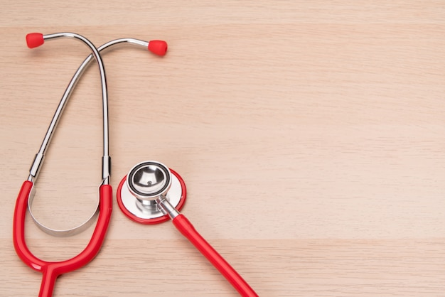 Red stethoscope, healthcare, medicine and insurance