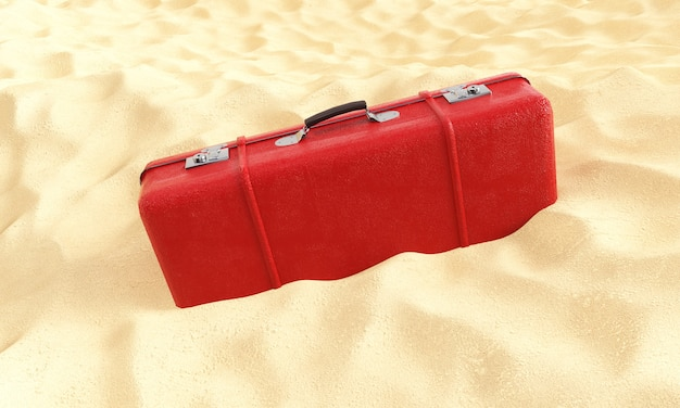 Красный чемодан на песке 3d визуализации против голубого неба, концепция путешествия