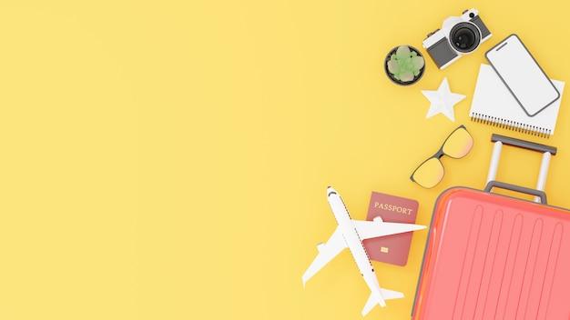 Красный чемодан с дорожными принадлежностями и концепция путешествия
