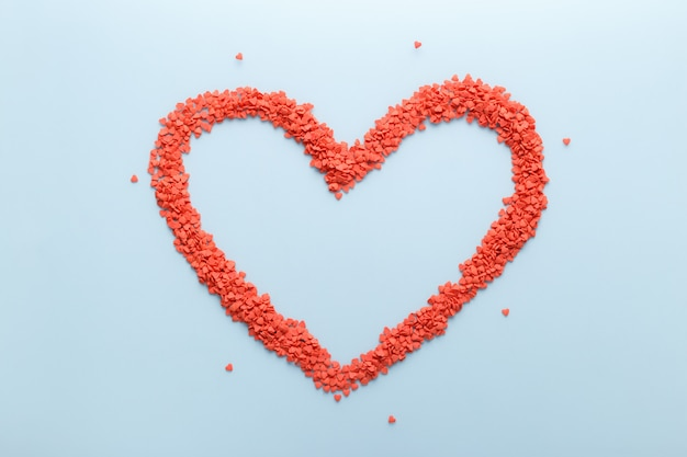 Red sweet candies heart shape