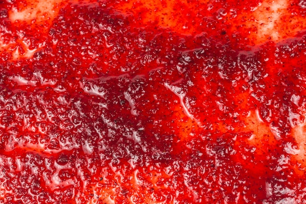 Red sweet jam background. top view.