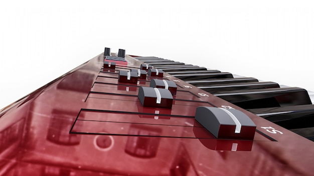 Red synthesizer midi keyboard on white surface. synth keys close-up