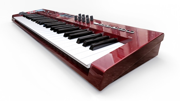 Красный синтезатор midi клавиатуры
