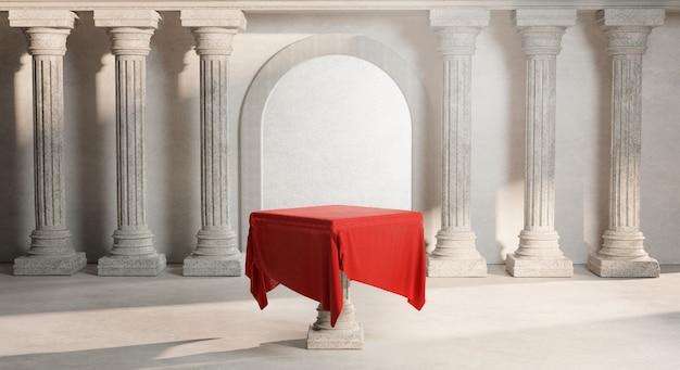 Red tablecloth bright shining door classic column pillars colonade 3d rendering