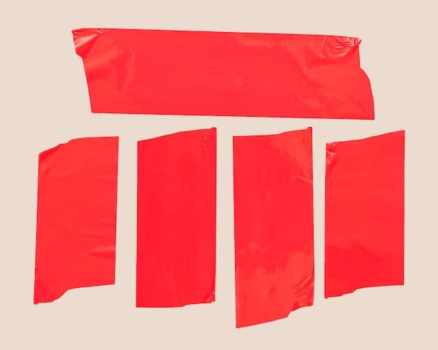 白地に赤テープ