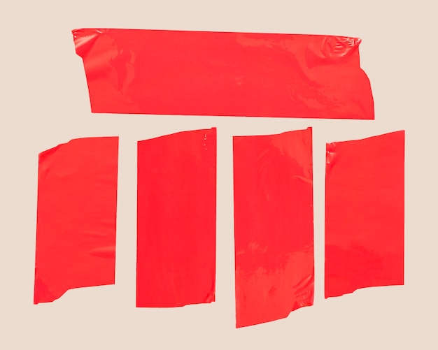 Red tape on white background