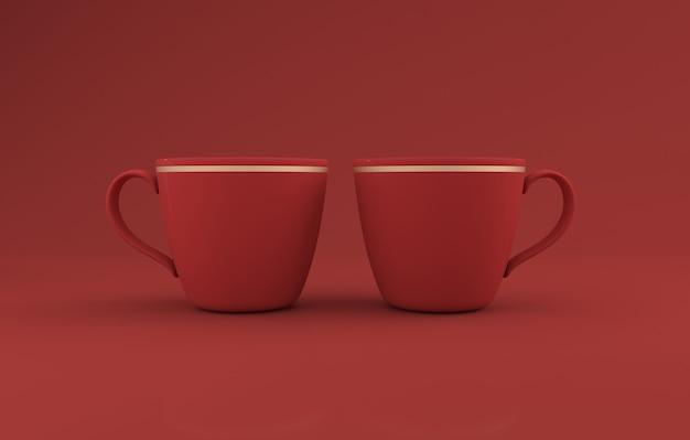 레드 티 컵 머그컵 3d 렌더링