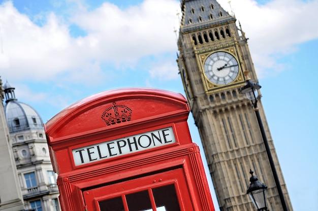 Красная телефонная будка и биг-бен в лондоне
