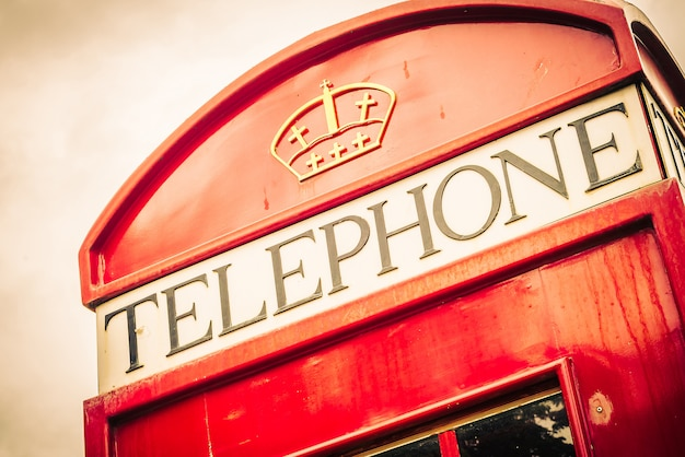 Red telephone box london style - vintage filter