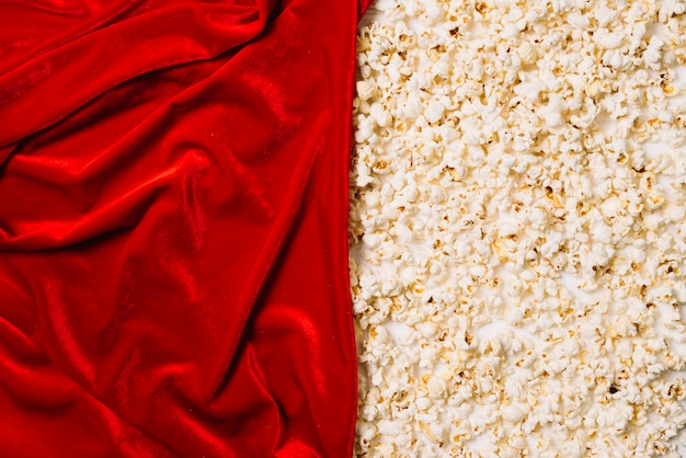 Red textile and popcorn
