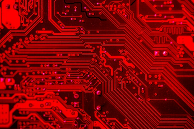 Red themed circuit board close-up