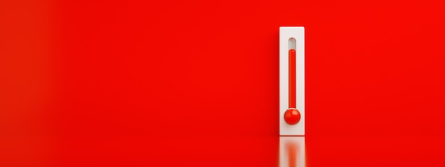 Red thermometer 3d render, concept of hot weather, panoramic image