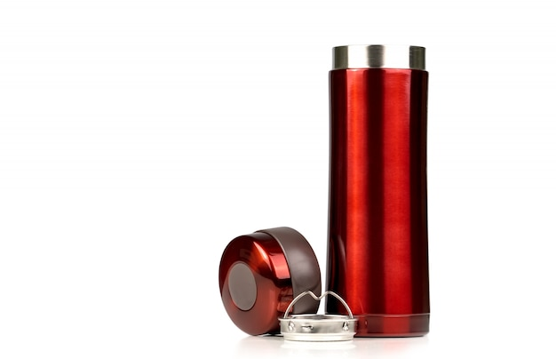 Red thermos bottle opened cap isolated