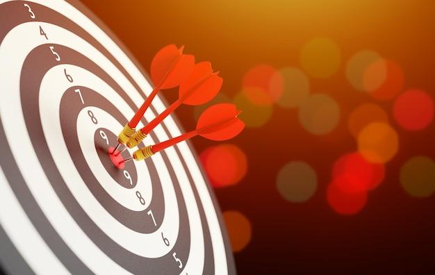 Красные три стрелы дротика в концепции бизнес-цели целевого центра