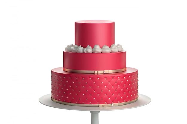 Красный трехуровневый свадебный торт на белой тарелке