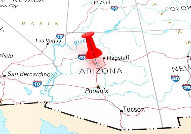애리조나 주립 미국 지도 위에 빨간색 압핀입니다. 3d 렌더링