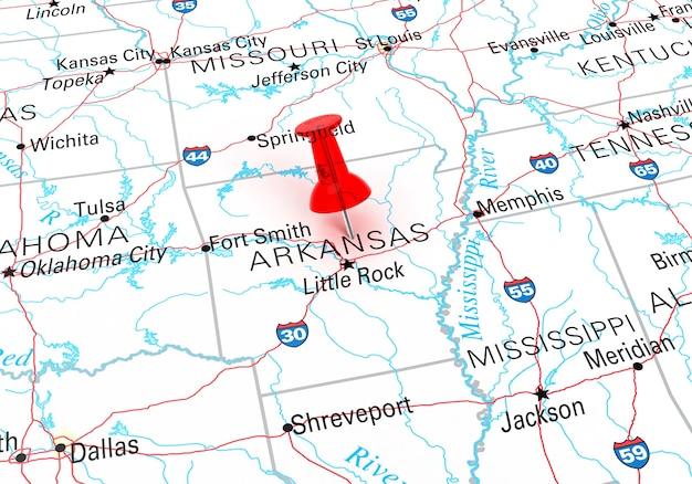 아칸소 주 미국 지도 위에 빨간색 압핀입니다. 3d 렌더링