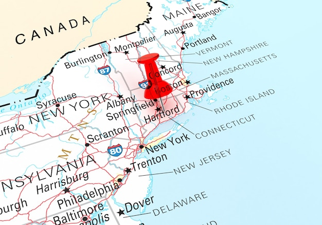 코네티컷 주 미국 지도 위에 빨간색 압핀. 3d 렌더링