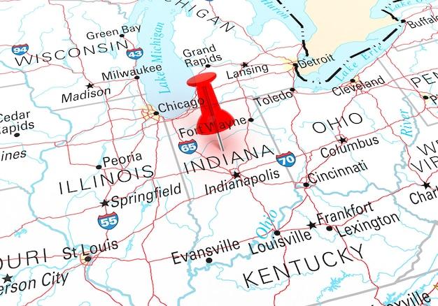 인디애나 주립 미국 지도 위에 빨간 압핀. 3d 렌더링