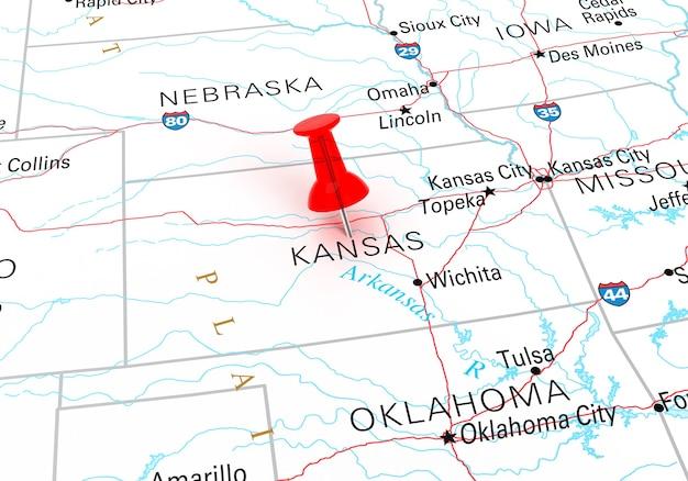 캔자스 주 미국 지도 위에 빨간색 압핀입니다. 3d 렌더링