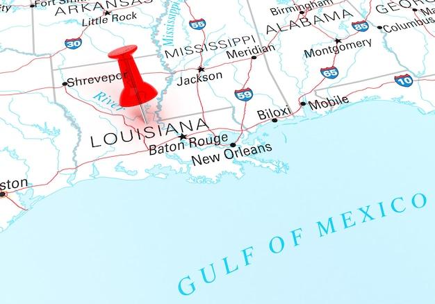 루이지애나 주 미국 지도 위에 빨간 압핀. 3d 렌더링