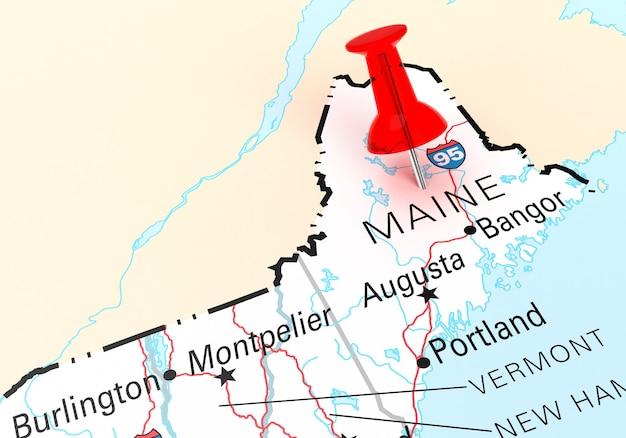 메인 주 미국 지도 위에 빨간색 압핀입니다. 3d 렌더링