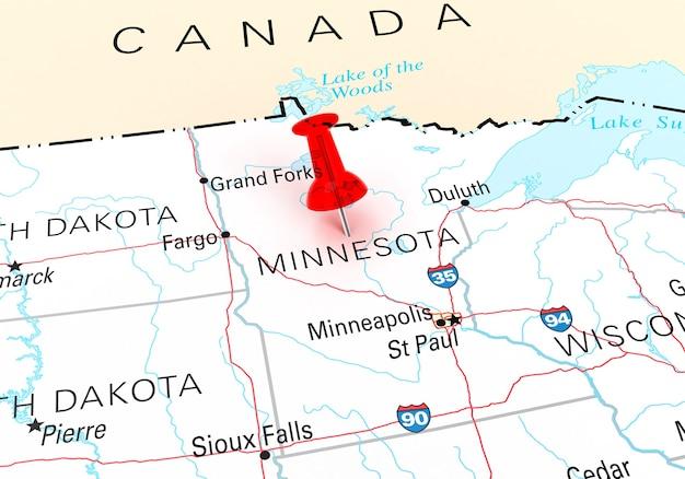ミネソタ州usaマップ上の赤い画鋲。 3dレンダリング