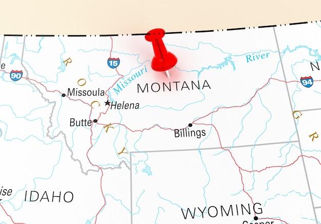 モンタナ州usaマップ上の赤い画鋲。 3dレンダリング