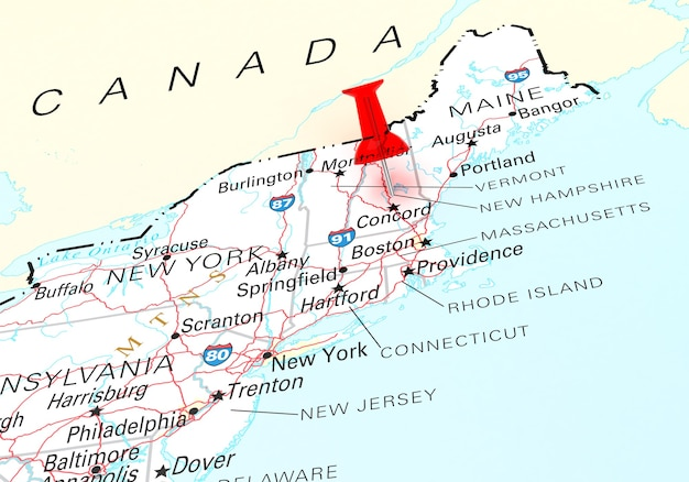 뉴햄프셔 주 미국 지도 위에 빨간 압핀. 3d 렌더링
