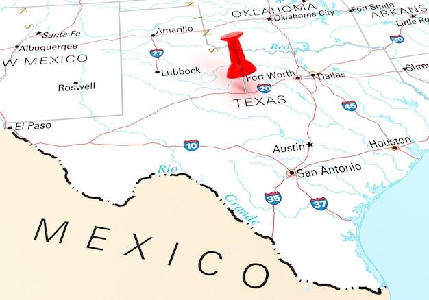 Красная канцелярская кнопка над картой сша штата техас. 3d рендеринг
