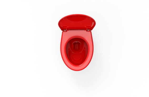 Red toilet on white backgrond