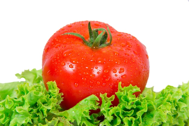 Red tomato lying on a piece of lettuce on white background