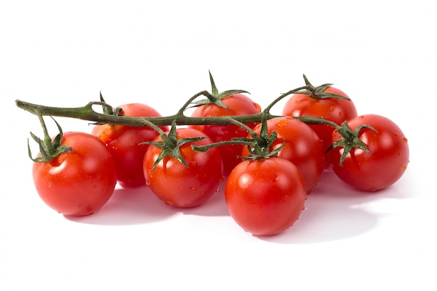 Red tomato on white