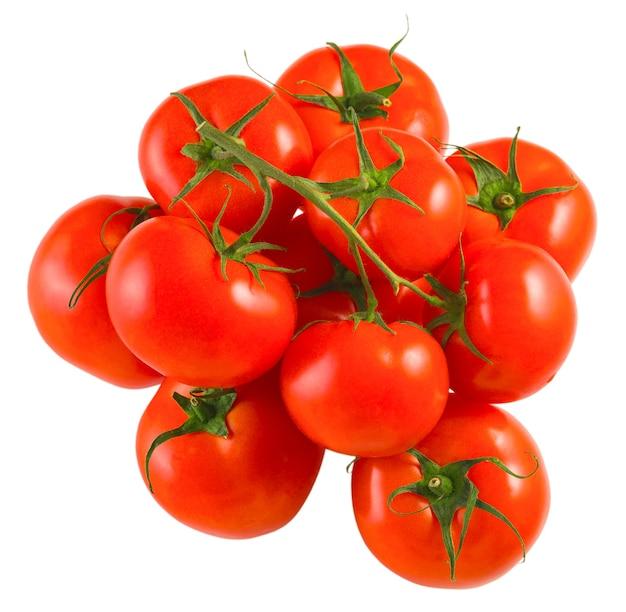 고립 된 흰색 배경, 상위 뷰에 지점에 신선한 수확의 빨간 토마토