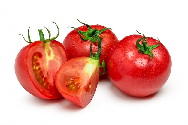 Red tomatoes set isolated