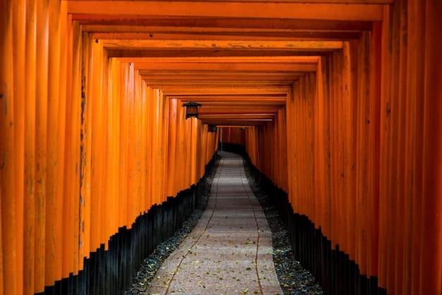 Красные ворота торусов на святыне fushimi inari в киото, японии.