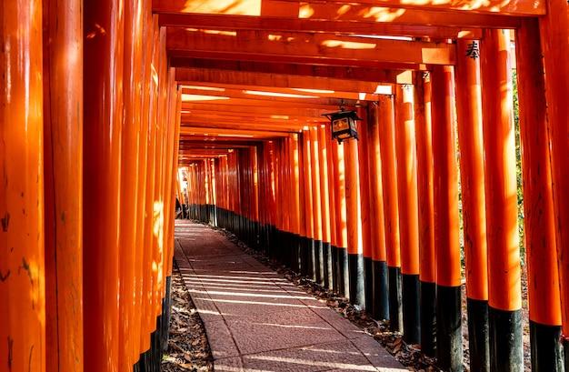 Красные ворота тории в храме фусими инари в киото, япония