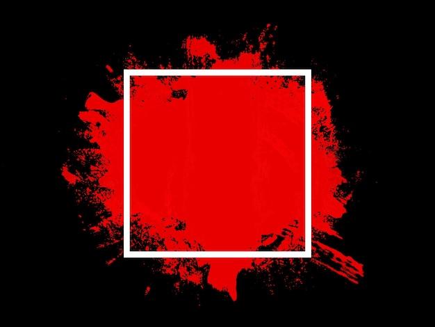 흰색 사각형의 빨간색 터치는 검정색 배경에 격리됩니다. 고품질 사진