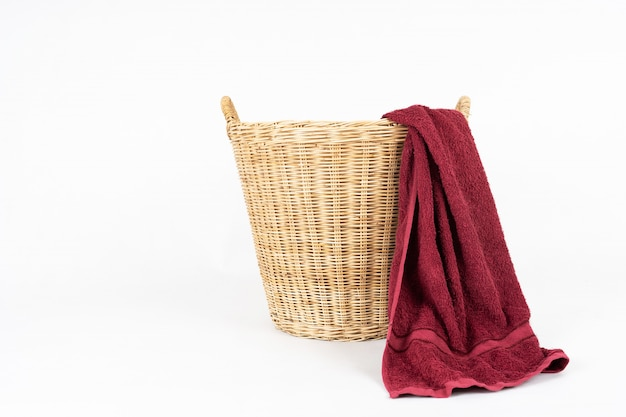 Red towel with basket isolated