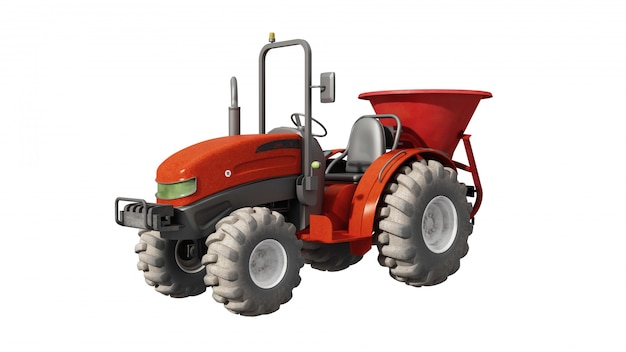 Red tractor from one side, isolated
