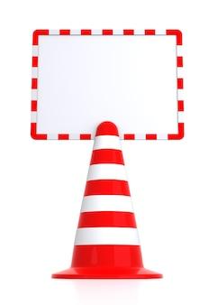 赤いトラフィックコーンメッセージボード。白い背景の上の分離