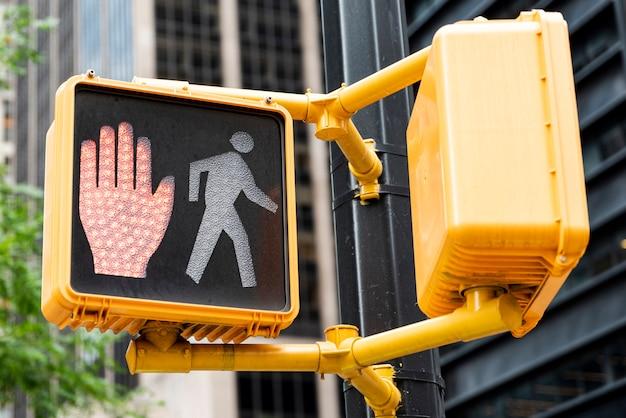 Red traffic light closeup