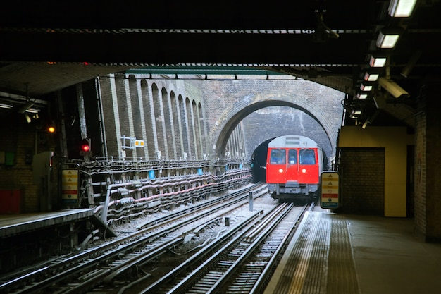 Red train in london