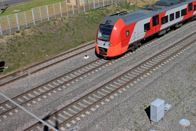 Red train on a railway