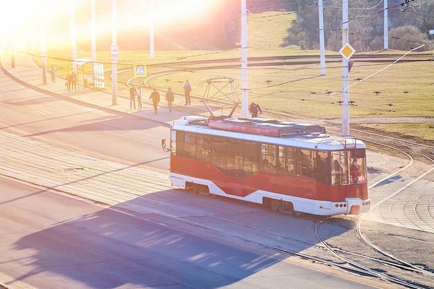 Red tram in eastern europe