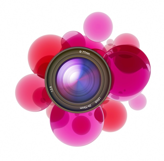 카메라 렌즈를 둘러싼 빨간색 투명 원