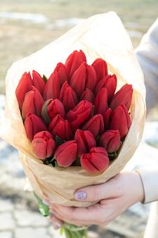 Красные тюльпаны. цветочный весенний фон. Premium Фотографии