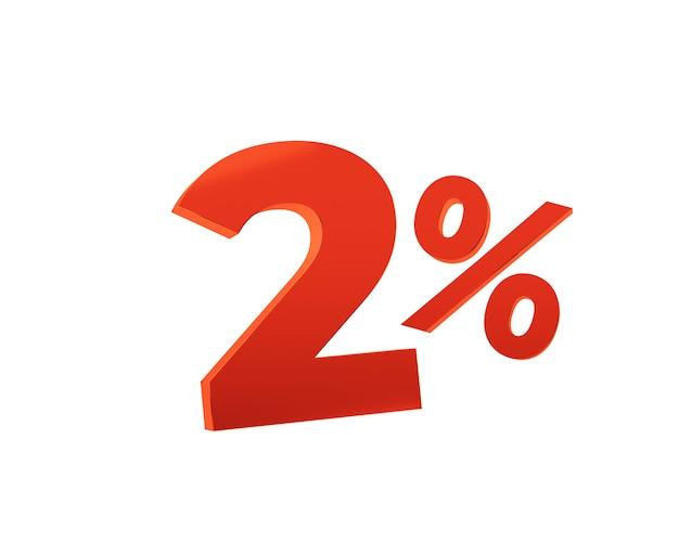Красные два процента на белом фоне. 3d визуализация иллюстрации.