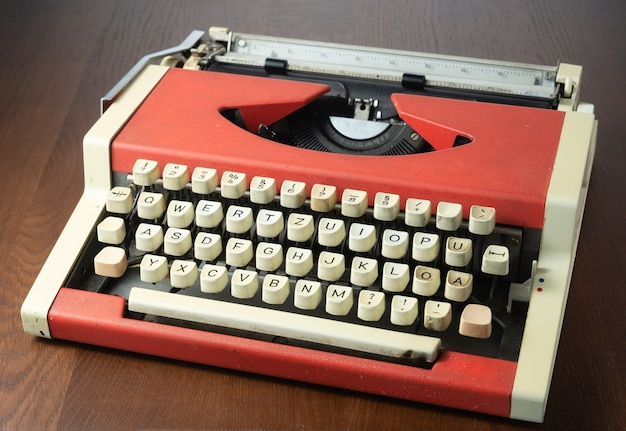Red typewriter on the table
